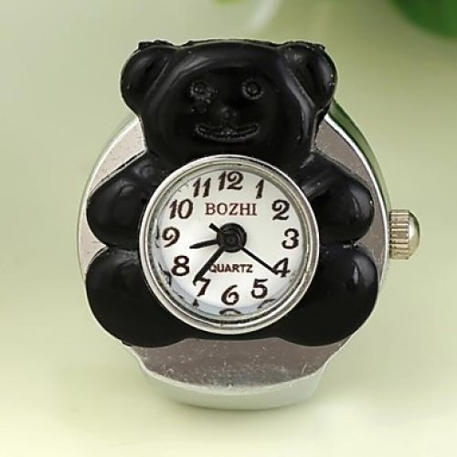 Women & #039;S Lovely Bear-Shaped Round Dial Alloy Quartz Ring Watch (1Pc)
