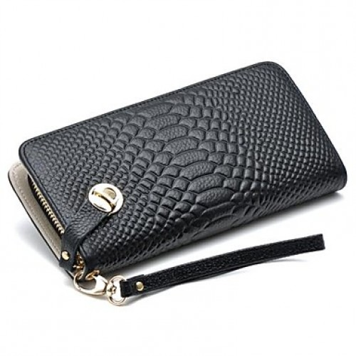 Women & #039;S Leather Wrist Wallet Crocodile Clutch Purse