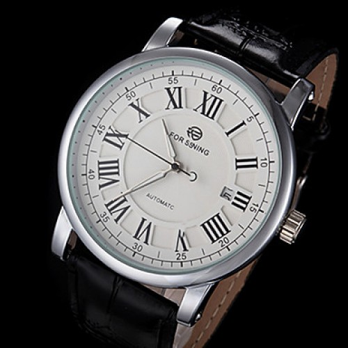 Men & #039;S Automatic Mechanical Classic Dial Leather Band Wrist Watch (Assorted Colors)