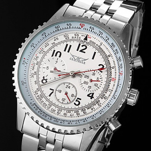 Men & #039;S Automatic Mechanical 6 Pointers Silver Steel Band Wrist Watch