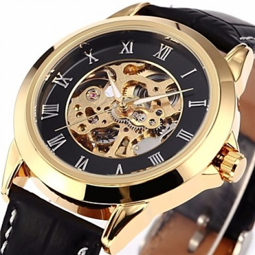 Men & #039;S Classic Skeleton Roman Dial Leather Band Automatic Self Wind Wrist Watch