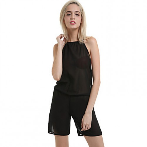 Women & #039;S Sexy Casual Cute Plus Sizes Inelastic Thin Sleeveless Jumpsuits (Chiffon)
