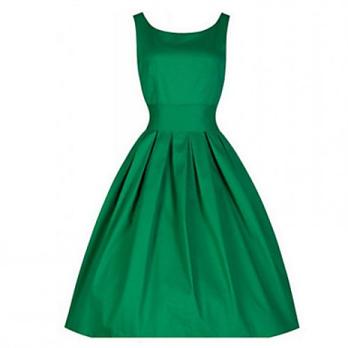 Women & #039;S Solid Color Dress,Vintage Round Neck Sleeveless