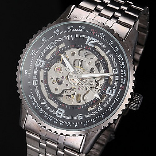 Men & #039;S Auto-Mechanical Fashion Hollow Dial Black Steel Band Wrist Watch