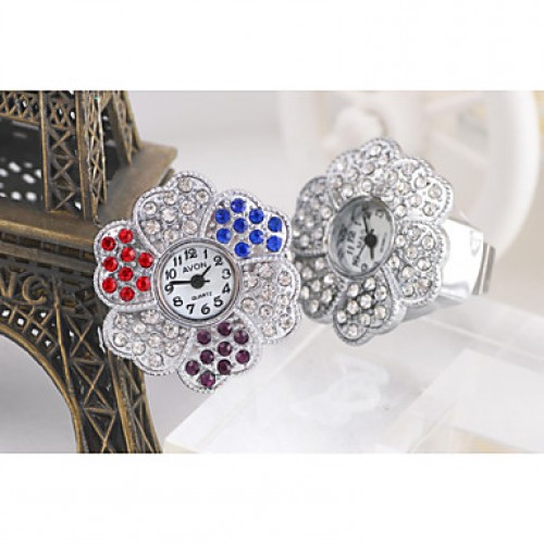 Sweet Flower Shape Quartz With Drill Strap Ring Finger Watch(Silver)(1Pc)