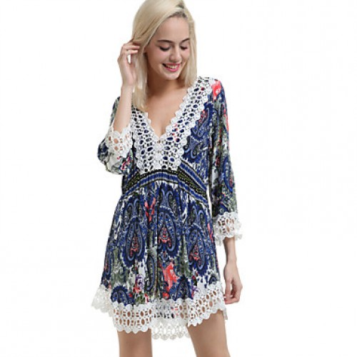 Women & #039;S Sexy Casual Lace Cute Plus Sizes Micro Elastic ? Sleeve Above Knee Dress (Lace/Microfiber)