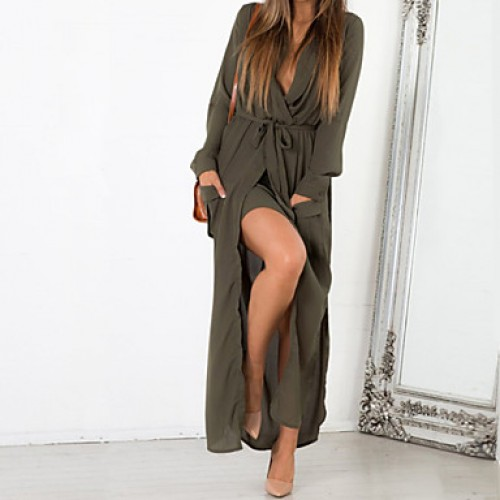 Women & #039;S Vintage/Casual/Work/Maxi Solid Loose Dress , Ruff Collar/Deep V Maxi Cotton/Polyester