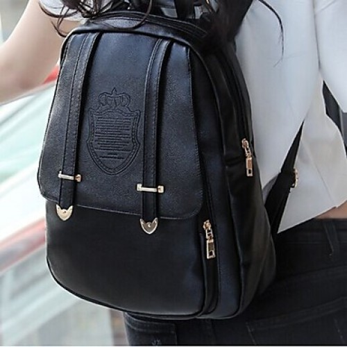 Women & #039;S PU Backpack- Black