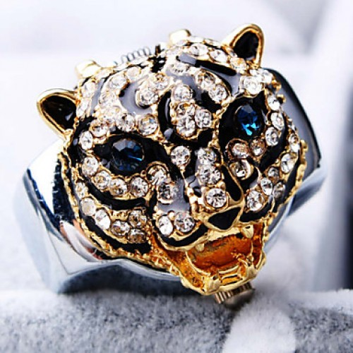 Women & #039;S New Exquisite Fashion Round Tiger Shape Of Diamond Dial Steel Strap Quartz Ring Watch (Random Color)