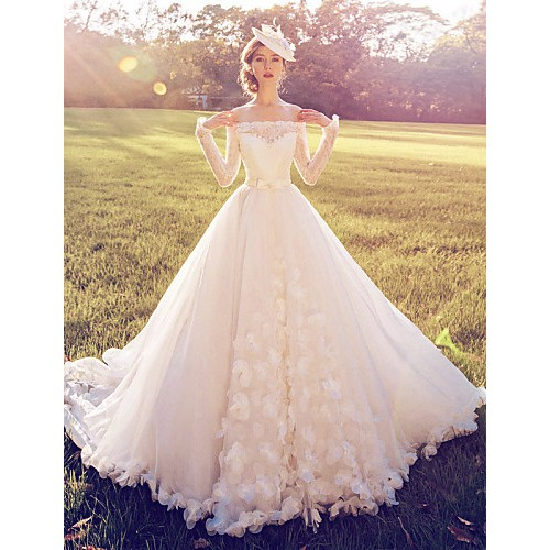 Ball Gown Wedding Dress- White Court Train Off-The-Shoulder Lace