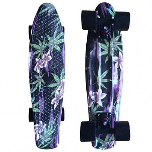 Floral And Leaves Black Plastic Skateboard 22 Inch Mini Cruiser With Abec-9 Bearings