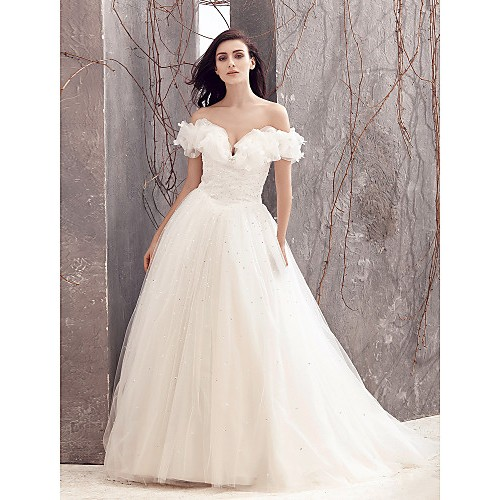 Lanting A-Line Wedding Dress- Ivory Sweep/Brush Train Off-The-Shoulder Tulle