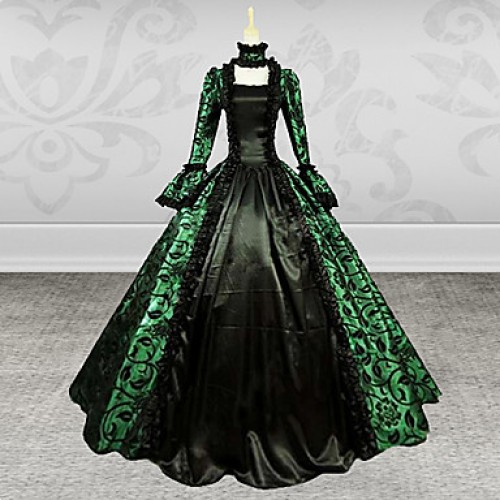 Gothic Lady Long Sleeves Green And Black Printing Satin Dress