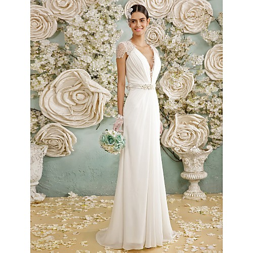A-Line Wedding Dress- Ivory Floor-Length V-Neck Chiffon/Lace