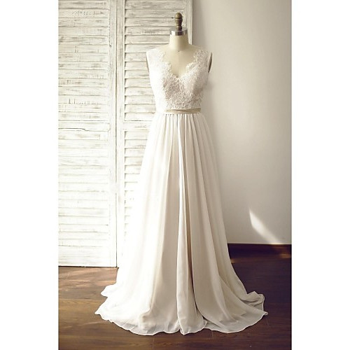 A-Line Wedding Dress- Champagne Court Train V-Neck Chiffon/Lace