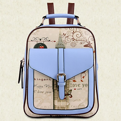 Women PU Bucket Backpack/School Bag/Travel Bag- White/Pink/Purple/Blue/Brown