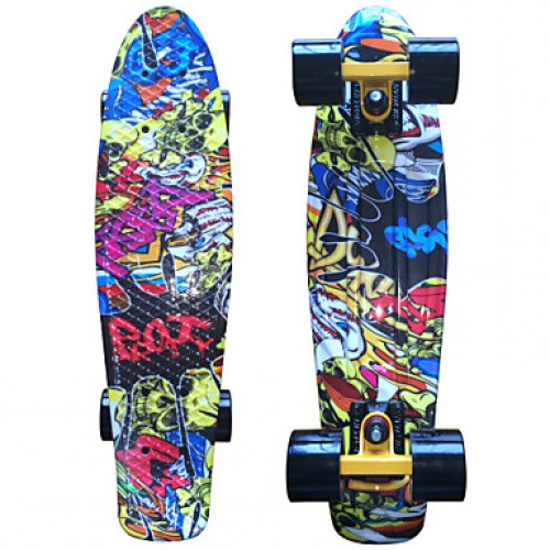 Yellow Skull Graphic Printed Plastic Skateboard (22 Inch) Cruiser Board With Abec-9 Bearing