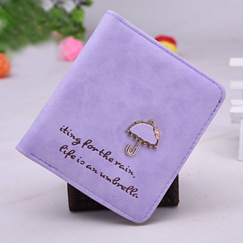 Sweet And Lovely Style Small Umbrella Metal Buckle Matte Leather Short Vertical Section Lady Wallet Card Package Wallet