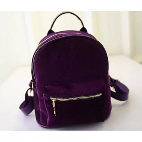 Women Other Leather Type Bucket Backpack- Purple/Gray/Black/Burgundy