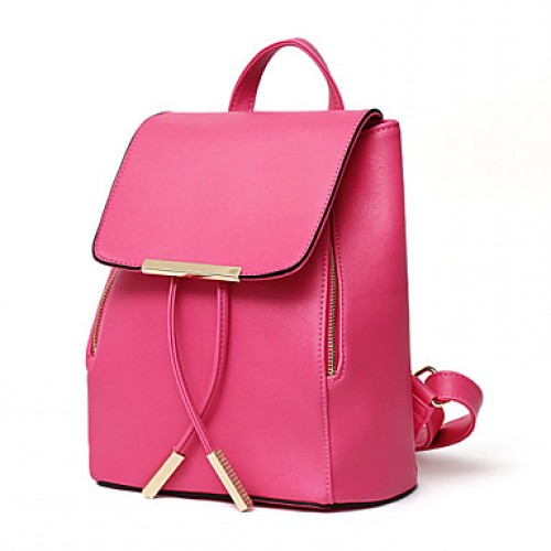 Women & #039;S Fashion Casual Solid PU Leather Backpack