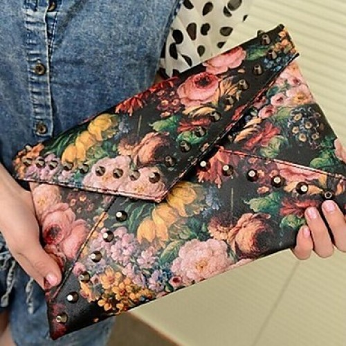 Women PU Fold Over Clutch Clutch- Multi-Color