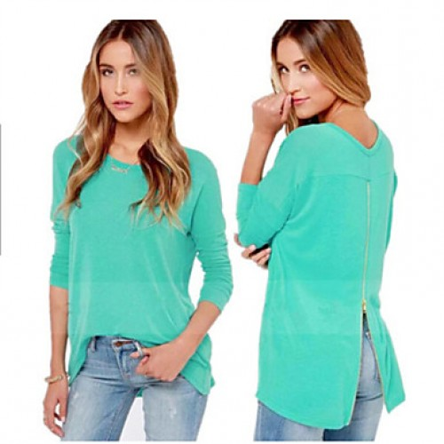Women & #039;S Solid Blue Blouse , Round Neck Long Sleeve