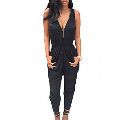 Women & #039;S Double Zipper Solid Black Jumpsuits , Casual/Day V Neck Sleeveless