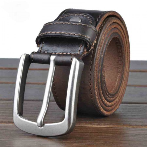 Popular men's leather belt pure leather handmade men's retro pin buckle belt