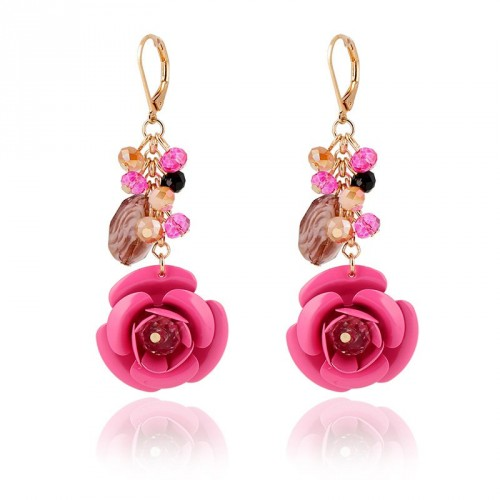 New models in Europe and the US market fashion crystal gemstone flower shape earrings earrings earrings Ladies Accessories low price good quality