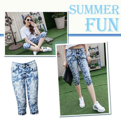 The new European leg wear white cotton style camouflage pants camouflage jeans Ms. Ms.