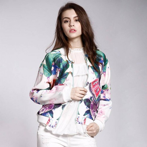 European market and the US market spring new style jacket modern baseball uniform long-sleeved jacket, Ms. printing style fast delivery lady