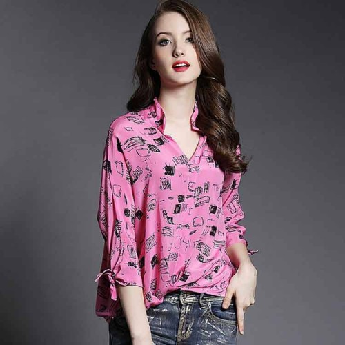 New spring and summer styles casual lady silk shirt blouses casual fashion printed shirt lapel Ms.