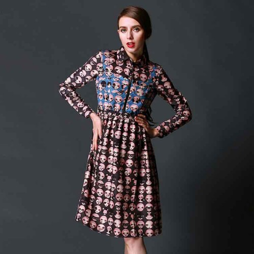 Promotions spring new style fashion personality Ms. long-sleeved dress lapel poll discounts