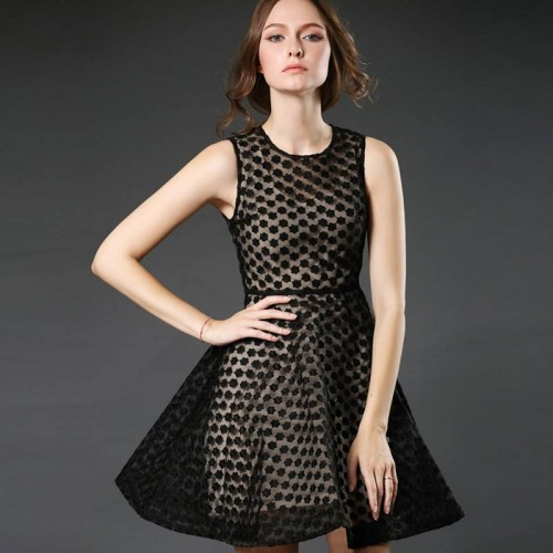 Ms. spring and summer in Europe and the United States market, the European market and the US market lace stitching sleeveless summer dress Slim slim skirt