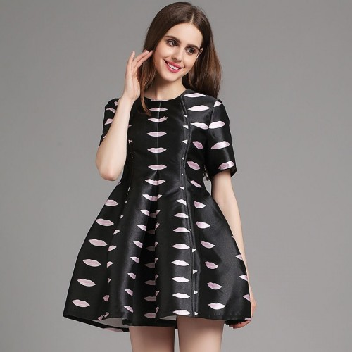 European market and the US market brand new style dress Ms. Spring Summer new style casual fashion printed dress waist