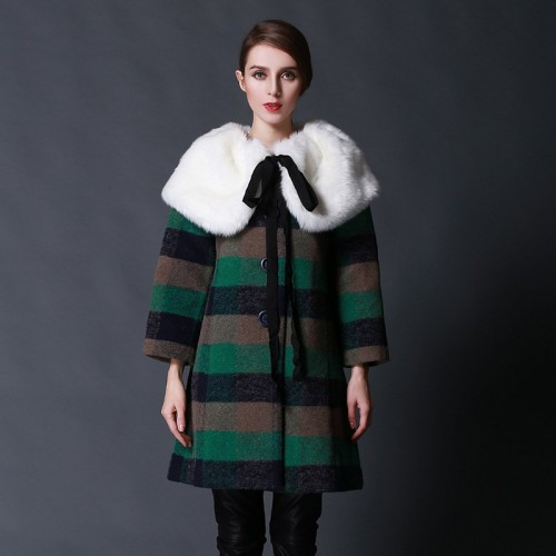 The new autumn and winter styles Ms. Nagymaros collar plaid wool coat jacket material large detachable collar coat