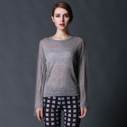 Promotions Autumn new models long-sleeved sweater yarn perspective Ms. simple sweater