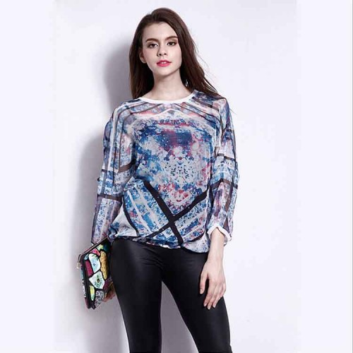The new style ladies summer European leg casual round neck t-shirt printing loose T-shirt