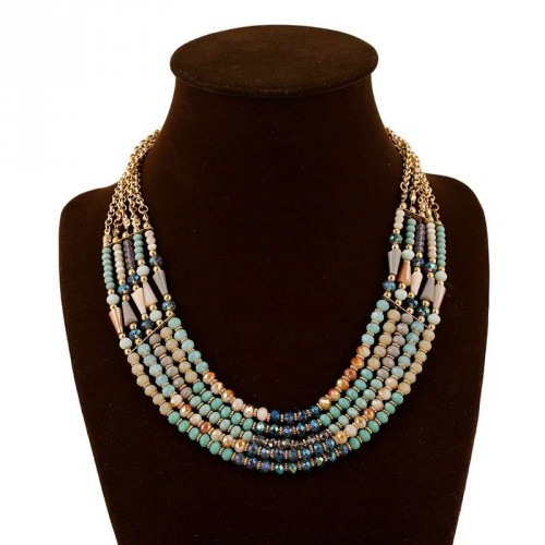 Low price high quality fashion wind retro pop gem multilayer color crystal beaded necklace discounts