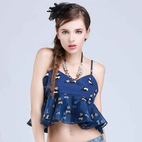 The new style animal prints stitching Slim tide organza vest small harness bottoming shirt lady