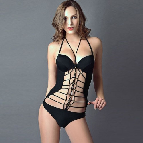 The new style of black lace beaded straps lady swimsuit conjoined European market and the US market party sexy swimsuit 41327