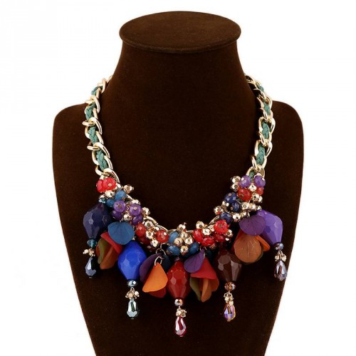 European market and the US market exaggerated fashion jewelry necklace braided necklace color fast delivery