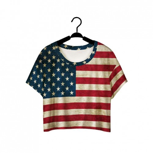 The new trend of the American flag style retro style digital printing short half loose short-sleeved T-shirt, Ms. fast delivery