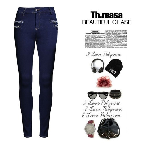 European market and the US market monochrome waist jeans Ms. Slim pencil pants zipper jeans metal station Europe