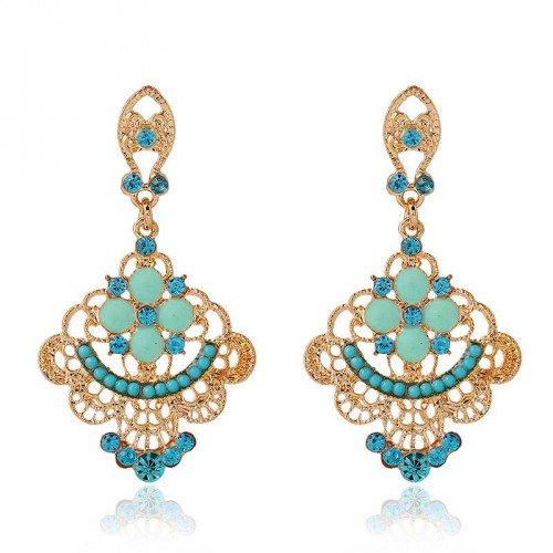 New style fashion earrings Europe and the United States market hollow diamond flower shape earrings Ms.