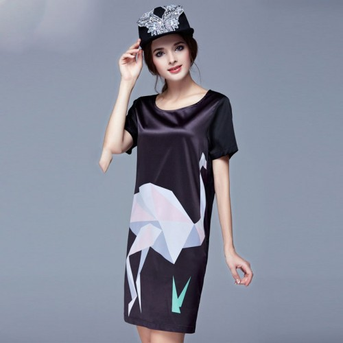 European market and the US market large size women's summer new models overweight ladies fashion shiny silk ostrich prints Slim slim dress