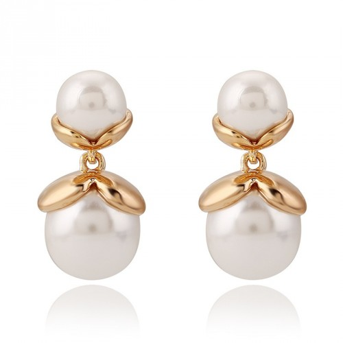 The new style jewelry temperament ladies double pearl earrings fast delivery
