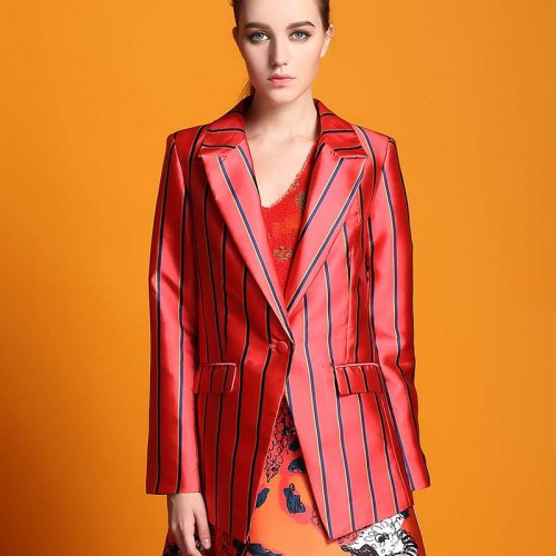 Autumn new models, Ms. Slim lapel long-sleeved striped single-breasted jacket with thin Ms.