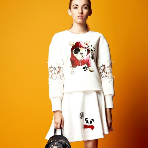 European stations autumn new style ladies fashion printed dog pattern long-sleeved leisure suits, skirt suits Ms.