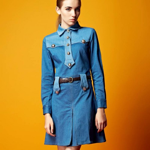 Skirts European market and the high-end market of American lady autumn new style cotton lapel stitching single-breasted long-sleeved A-line shape